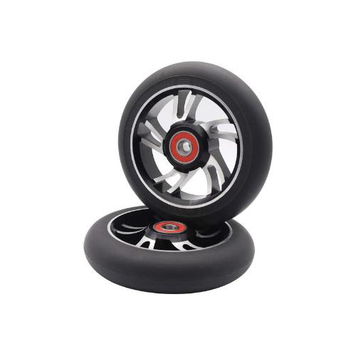z-first scooter wheels pair 10 spoke silver black