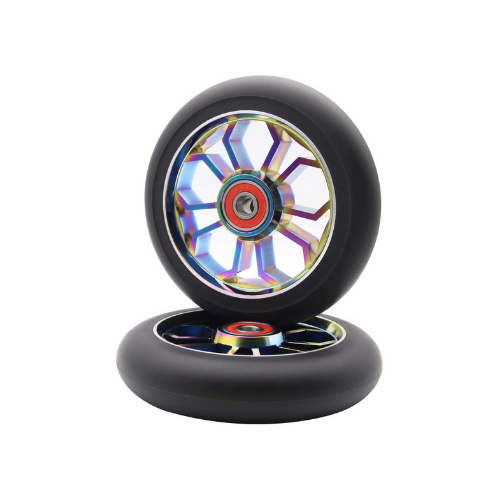 z-first spider scooter wheels pair 10 spoke neochrome